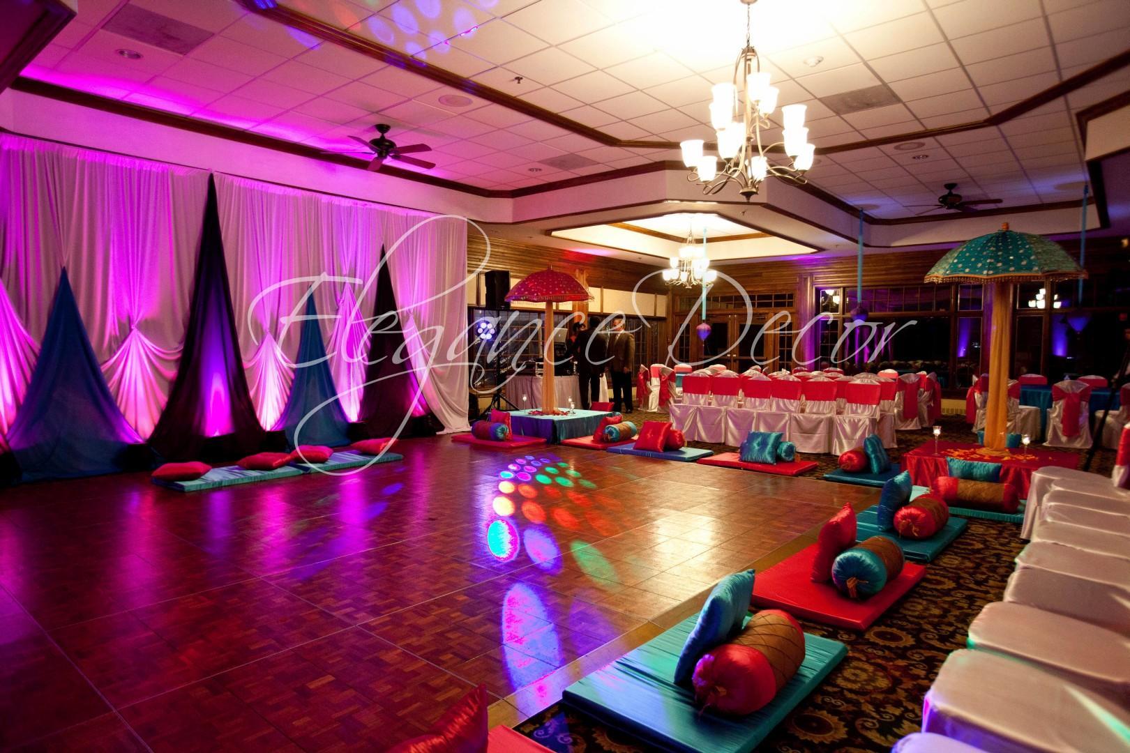 Sangeet mehendi elegance d cor for Indoor diwali decoration